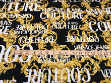 Load image into Gallery viewer, Black, White & Gold Designer Baroque Scroll 100% Cotton Knit.    1/4 Meter Price