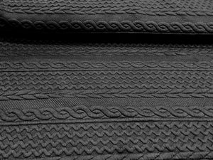 Black Textured Faux Cable knit 93% Polyester 5% Rayon 2% Spandex.    1/4 Meter Price