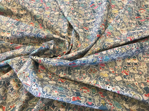 Liberty Tana Lawn Grey/Blue Gallymoggers 100% Cotton     1/4 Meter Price