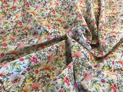 Pink & Red Floral 100% Cotton Lawn Border Print    1/4 Meter Price