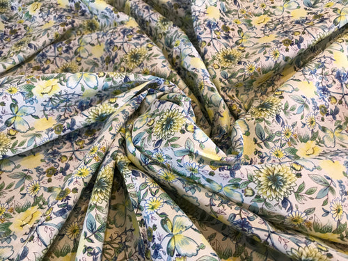 Yellow & Blue Floral 100% Cotton Lawn Border Print      1/4 Meter Price
