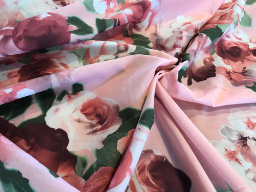 Pink Roses 100% Cotton Lawn      1/4 Meter Price