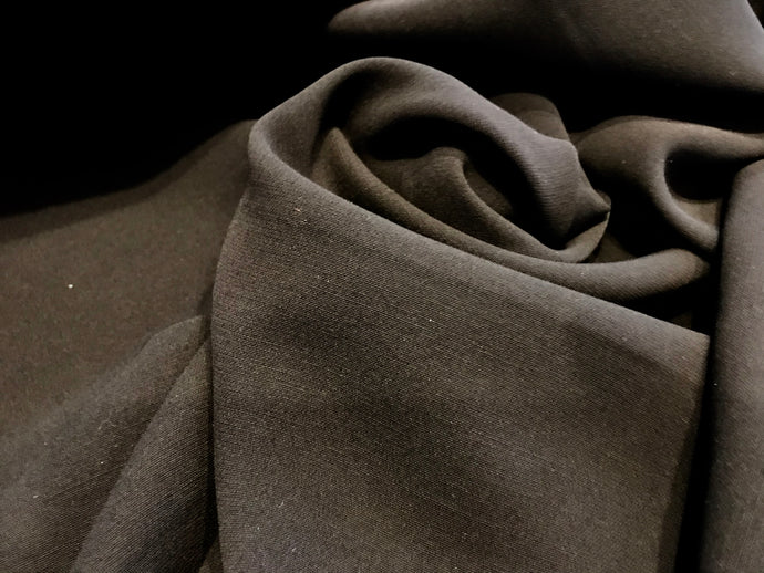 Black Heavy 4 Ply 100% Silk Crepe.      1/4 Meter Price