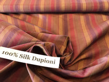 Load image into Gallery viewer, Muted Purple & Maroon Striped Dupioni 100% Silk.   1/4 Metre Price