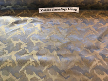 Load image into Gallery viewer, Camouflage Blue & Green Viscose Lining.   1/4 Metre Price