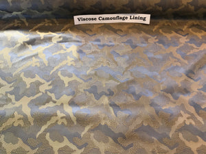 Camouflage Blue & Green Viscose Lining.   1/4 Metre Price