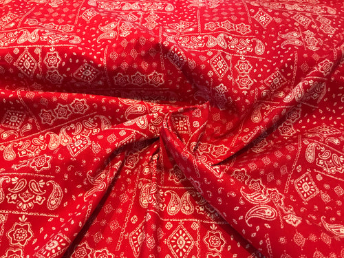 Red Bandana Print 100% Cotton     1/4 Meter Price