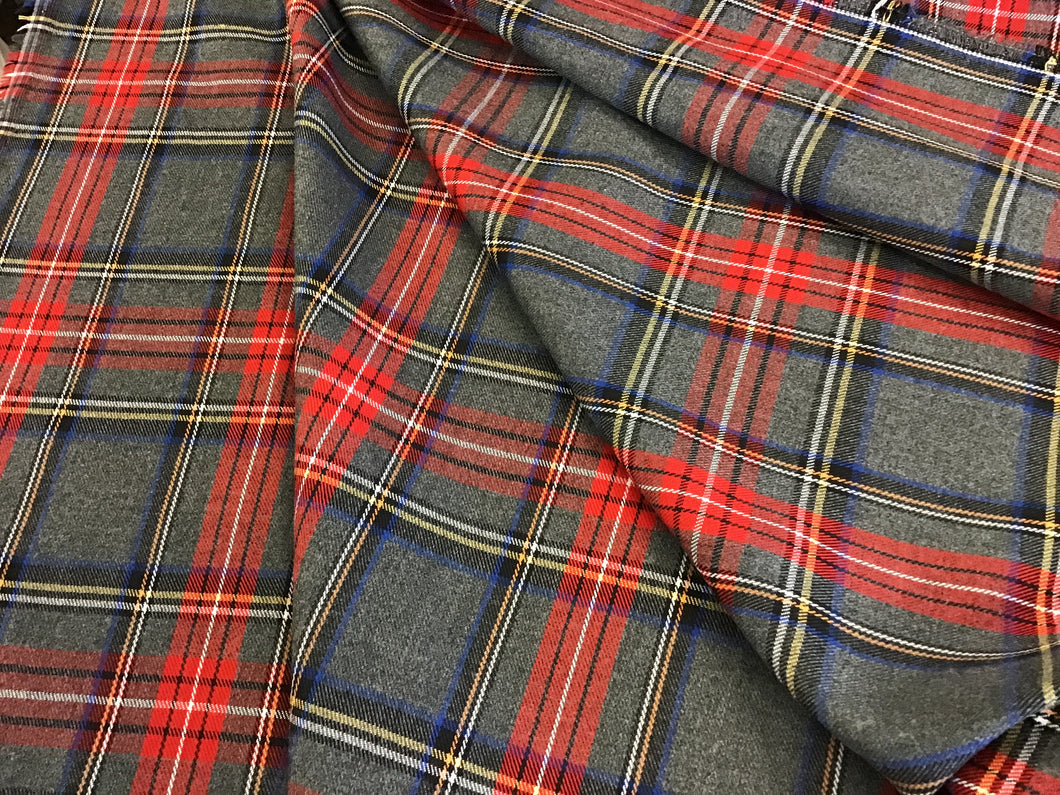 Grey and Red Plaid 85% Polyester 15% Rayon