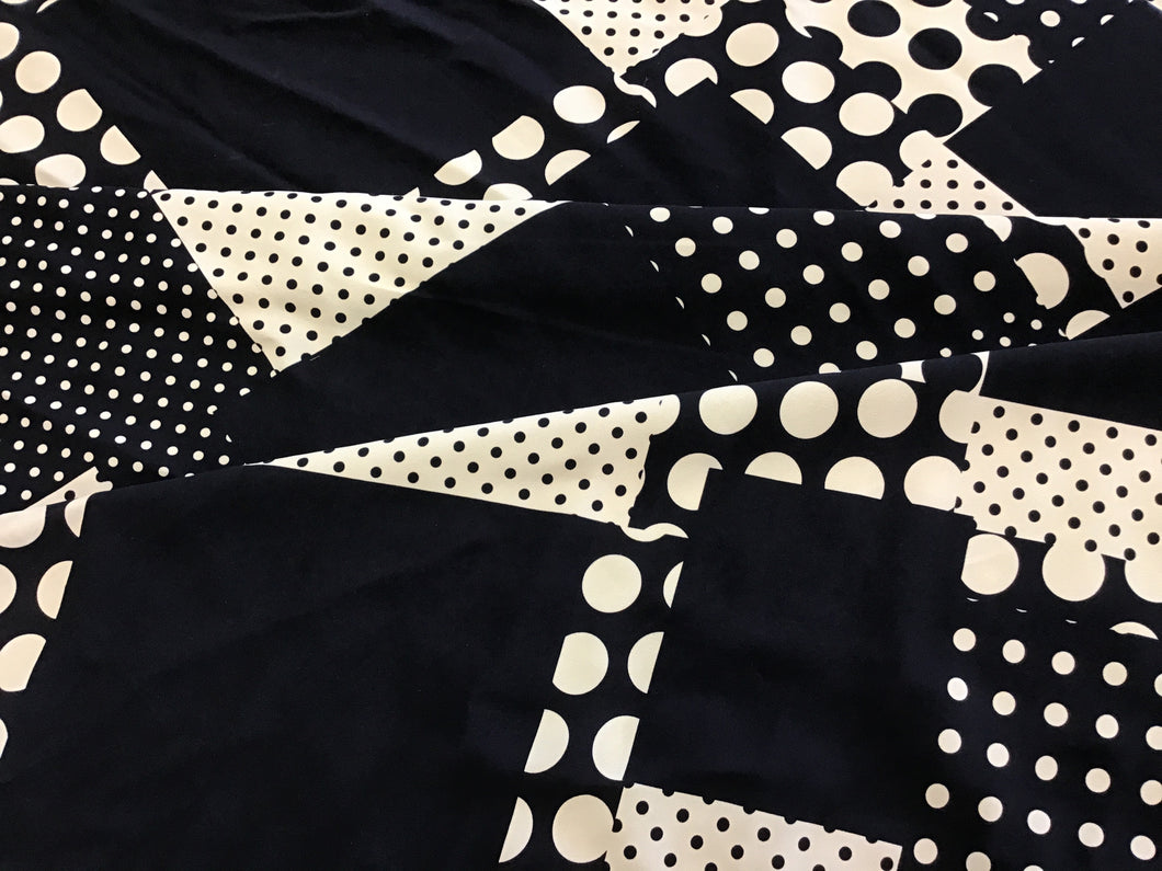 Black Cream Dot Print Rayon