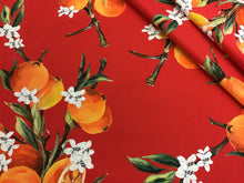 Load image into Gallery viewer, Red 100% Cotton Designer Orange Fruit Print
