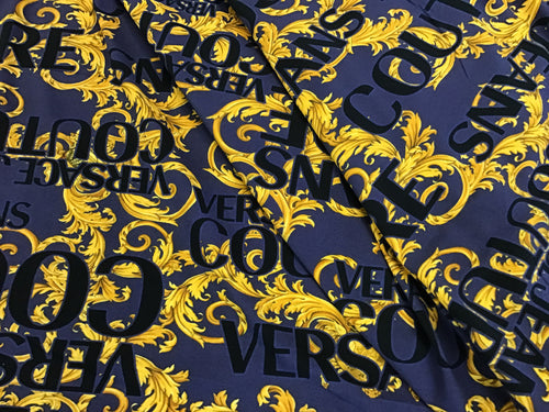 Royal Purple & Gold Designer Baroque Scroll 100% Cotton Knit.    1/4 Meter Price