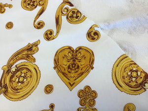 Exclusive Designer Scroll & Hearts on White Sweater 100% Cotton Knit.  1/4 Meter Price