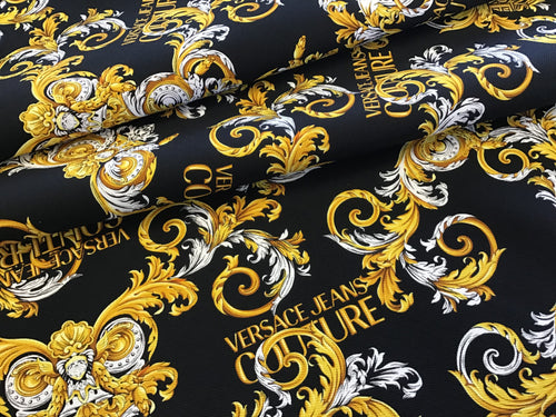 Italian Designer Black Baroque Denim 100% Cotton