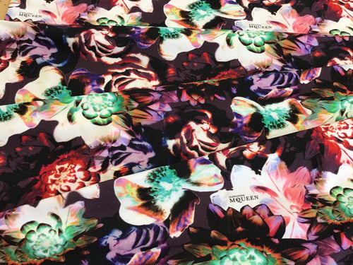 Purple Green & Red Floral Signature Print Cotton Knit