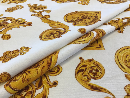 Exclusive Gold Baroque Designer Scroll on White Sweater 100% Cotton Knit