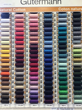 Load image into Gallery viewer, Gutermann 100% Cotton Thread   100 meters.   Colours.   #1001 - #6150