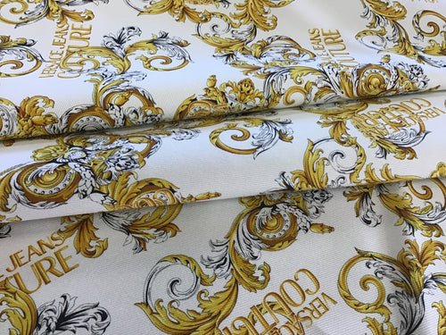 Italian Designer White Baroque Denim 100% Cotton