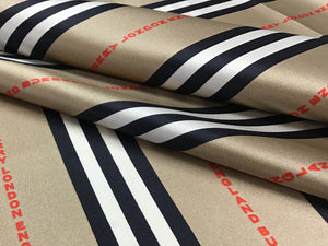 Designer Stripes with Logo 100% Silk