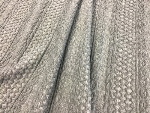 Light Grey Textured Faux Cable Knit 93% Polyester 5% Rayon 2% Spandex