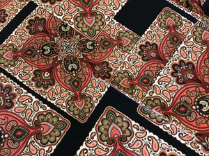 Black & Red Paisley Knit