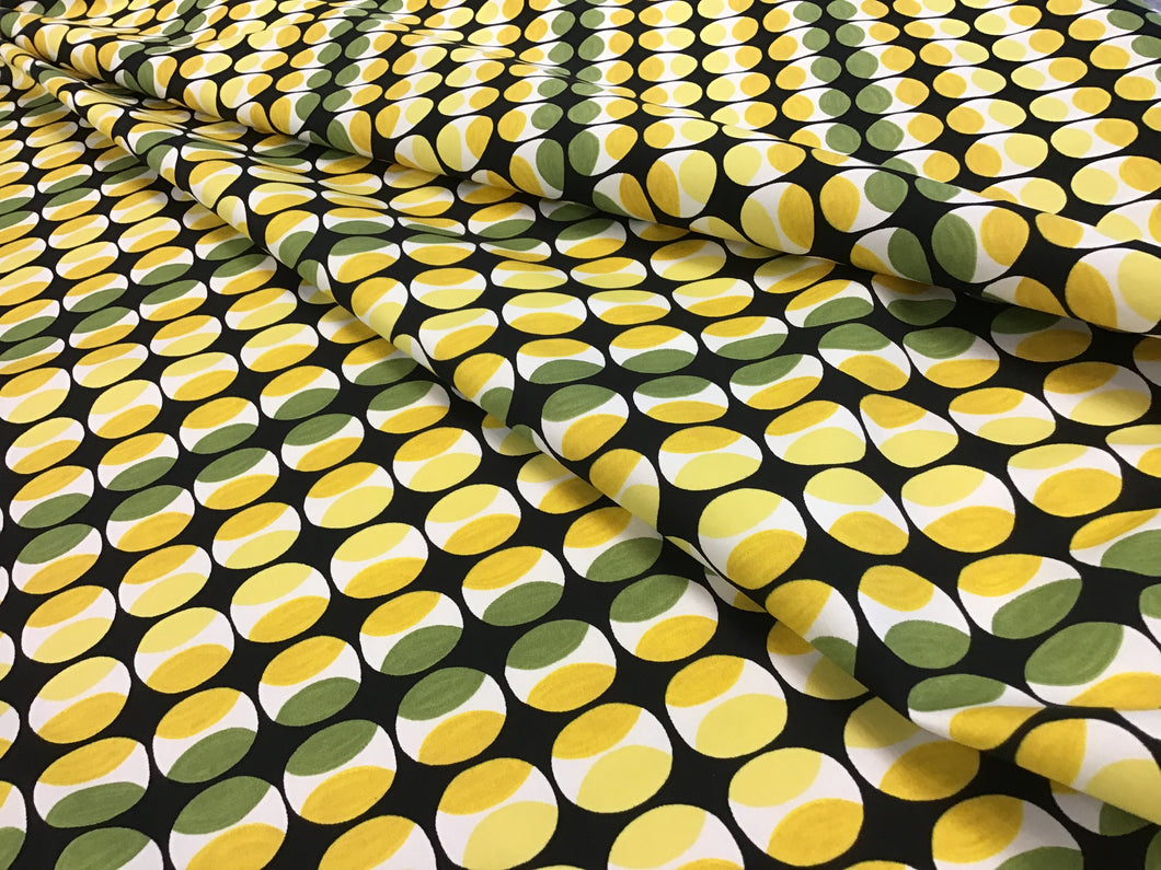 Green and Yellow Dots 97% Cotton 3% Spandex
