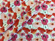 Load image into Gallery viewer, Pink Poppy print on White 97% Cotton 3% Spandex