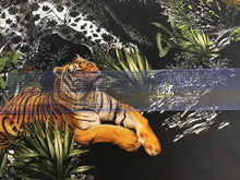 Load image into Gallery viewer, Designer Jungle Print on Black 53% Silk 40% Cotton 7% Elastane