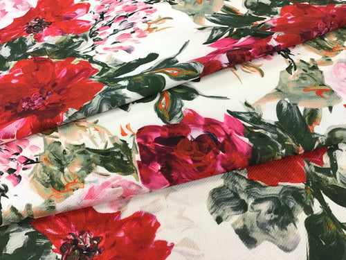 Red Floral Garden 80% Wool 20% Silk Pique