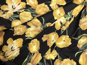 100% Poly D&G Yellow Tulip Print Raincoating