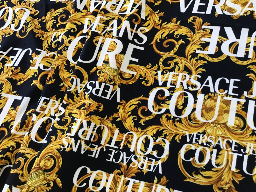 Black/Gold Designer Scroll Sweater Knit