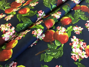 Apple Bloom Print on Navy 97% Cotton 3% Spandex