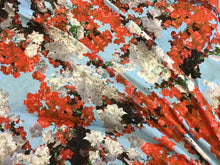 Load image into Gallery viewer, 90% Viscose 10% Elastino Floral Bougainvilla Print (Orange)