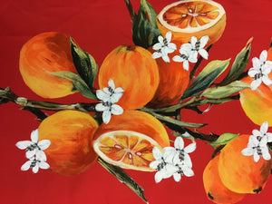 Red 100% Cotton Designer Orange Fruit Print