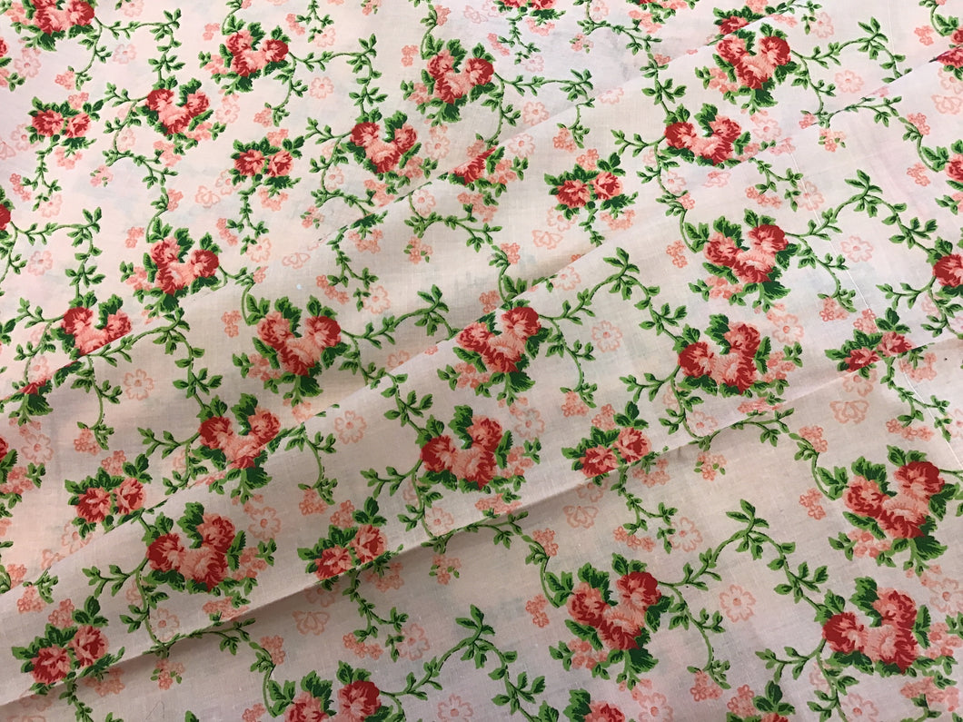 Pink Vines and Floral 100% cotton