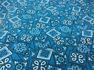 100% Cotton Teal Bandanna Stamps