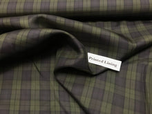Load image into Gallery viewer, Olive and Navy Plaid Acetate/Viscose Lining     1/4 Meter Price
