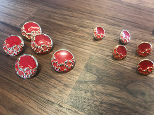 Red & Gold Floral Button     Price per Button