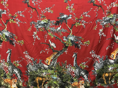 Designer Jungle Print on Burgundy 53% Silk 40% Cotton 7% Elastane     Panel Price