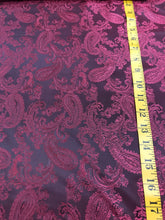 Load image into Gallery viewer, Red/Shot Black Viscose Paisley Lining