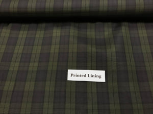 Olive and Navy Plaid Acetate/Viscose Lining     1/4 Meter Price