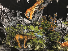 Load image into Gallery viewer, Designer Jungle Print on Black 53% Silk 40% Cotton 7% Elastane.    Panel Price