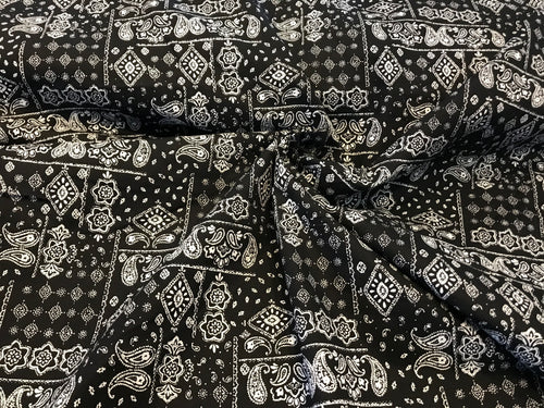 Black Bandana Print 100% Cotton.    1/4 Meter Price