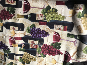 Wine Tasting Wine & Grapes 100% Cotton