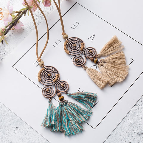 699ad5212 Women Charm Vintage Bohemian Ethnic Tassel Pendant Necklace Choker Long  Leather Sweater Rope Chain Clothing Jewelry