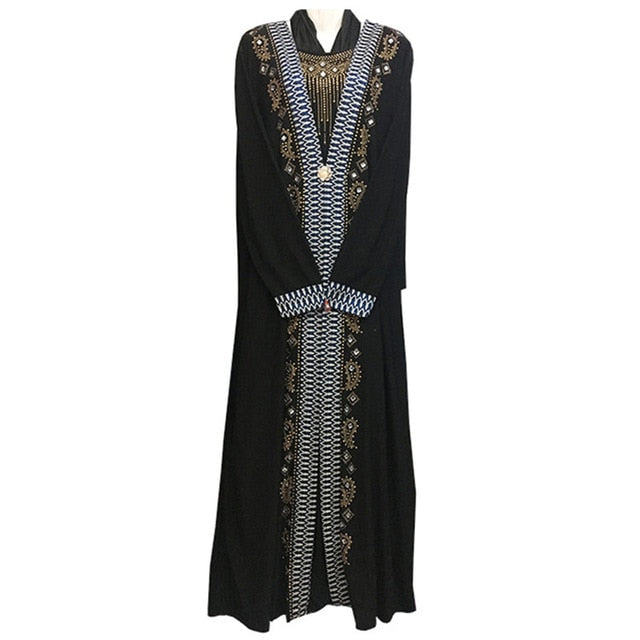 2cf0d6b0ba free shipping Muslim black abaya islamic clothing for women embroidery  rhinestone dubai kaftan robe dress turkish abaya D253