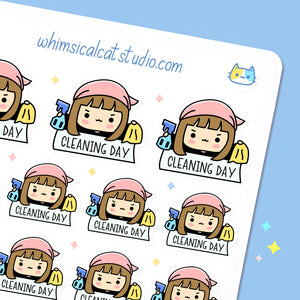 Kawaii Cleaning Day Planner Stickers