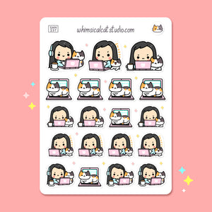 Work From Home With Cat Planner Stickers