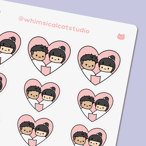 Heart Couple Planner Stickers