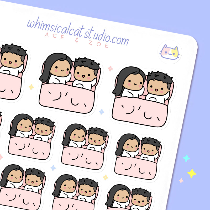 Couple in Bed Planner Stickers