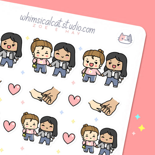 BFF Holding Hands Planner Stickers
